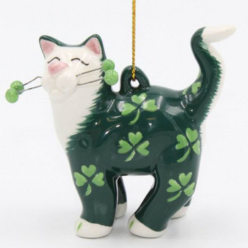 Cat with Shamrocks Christmas Tree Ornaments, Set of 4