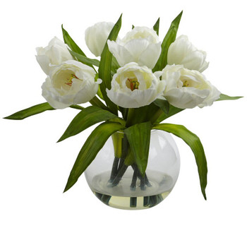 White Tulips Silk Flower Arrangement with Vase