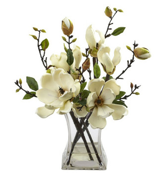 White Magnolia Silk Flower Arrangement with Vase