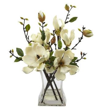 White Magnolia Silk Flower Arrangement with Vase