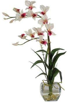 Dendrobium with Glass Vase Silk Flower Arrangement - White
