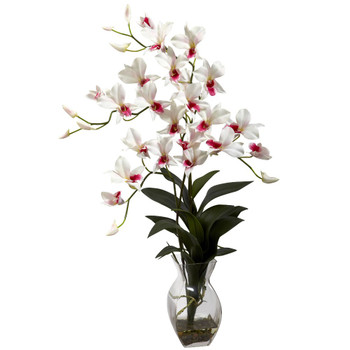 Dendrobium White Orchid Silk Flower Arrangement with Vase