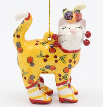 Cat with Cherries Christmas Tree Ornaments, Set of 4