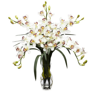 Cymbidium Orchid Silk Flower Arrangement - White