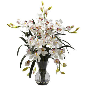 Large White Cymbidium Silk Flower Arrangement with Vase