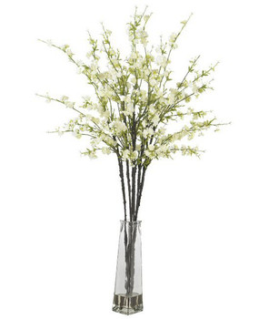 Cherry Blossoms with Vase Silk Flower Arrangement - White