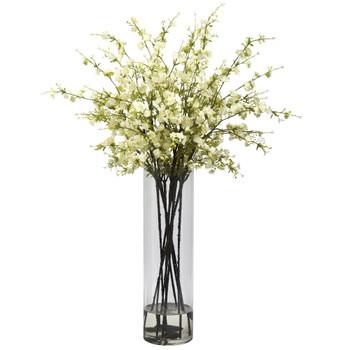 Giant White Cherry Blossom Silk Flower Arrangement