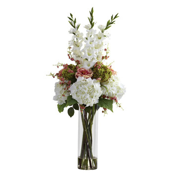 Giant White Mixed Silk Flower Arrangement