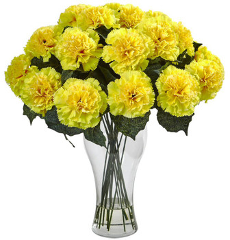 Blooming Yellow Carnation Silk Flower Arrangement with Vase