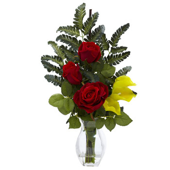 Rose & Yellow Calla Lily Silk Flower Arrangement with Vase