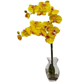 Phalaenopsis Yellow Orchid Silk Flower Arrangement with Vase