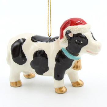 Christmas Cow Wearing a Santa Hat Christmas Tree Ornaments, Set of 4