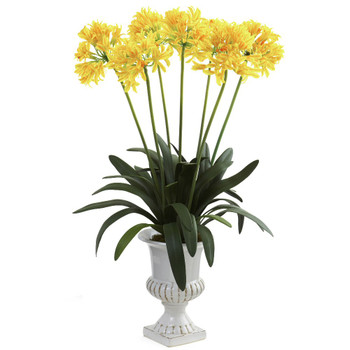 Yellow African Lily Silk Flower Arrangement with Urn