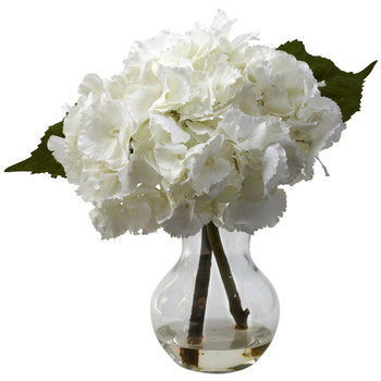 Blooming Hydrangea Silk Flower Arrangement with Vase