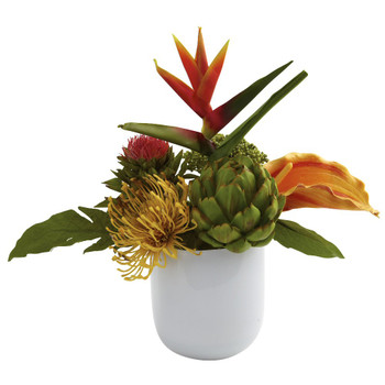 Tropical Floral Arrangement with White Glass Vase