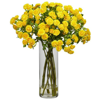 Japanese Silk Flower Arrangement - Yellow