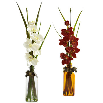 Phalaenopsis Silk Flower Arrangement with Colored Jar, Set of 2