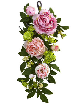 24'' Mixed Peony and Hydrangea Teardrop Silk Flower Arrangement
