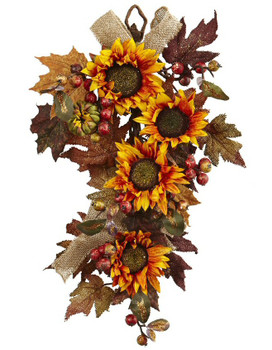 """24"""" Sunflower and Berry Teardrop Silk Flower Arrangement"""