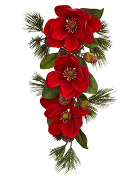 "26"" Red Magnolia and Pine Tear Drop Silk Flower Arrangement"