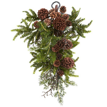 "26"" Pine & Pine Cone Teardrop Silk Arrangement"