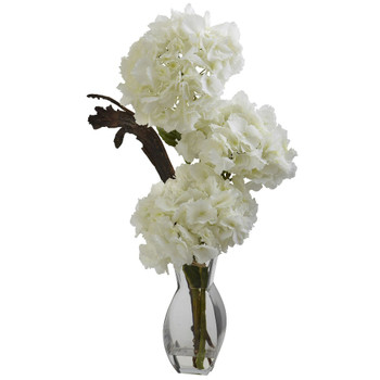 Triple Hydrangea Silk Flower Arrangement with Vase