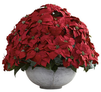 Giant Poinsettia Silk Flower Arrangement with Decorative Planter