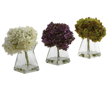Hydrangea Silk Flower Arrangement with Vase, Set of 3