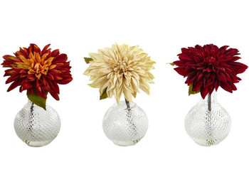 Dahlia Silk Flower Arrangement with Decorative Vase, Set of 3