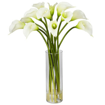 Mini Calla Lily Silk Flower Arrangement - Cream