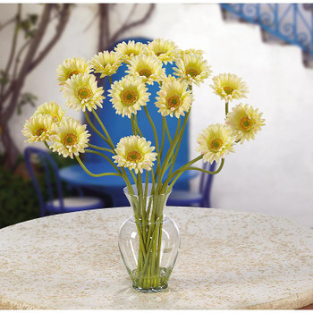Gerber Daisy Liquid Illusion Silk Arrangement - Cream