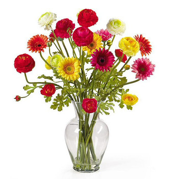 Gerber and Ranunculus Liquid Illusion Silk Flower Arrangement