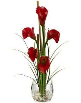 Red Calla Lilly Liquid Illusion Silk Flower Arrangement