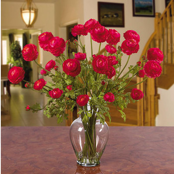 Ranunculus Liquid Illusion Silk Arrangement - Red