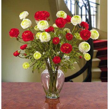 Ranunculus Liquid Illusion Silk Arrangement - Red White