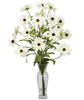 Cosmos with Vase Silk Flower Arrangement - White