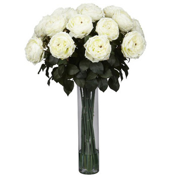 Fancy Rose Silk Flower Arrangement - White