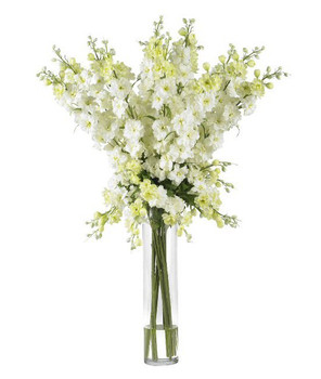 Delphinium Silk Flower Arrangement - White