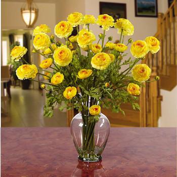 Ranunculus Liquid Illusion Silk Arrangement - Yellow