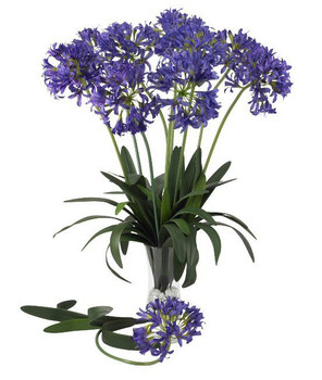 "29"" African Lily Silk Flower Stem - Purple, Set of 12"