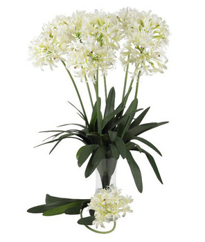 "29"" African Lily Silk Flower Stem - White, Set of 12"