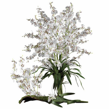 Dancing Lady Silk Orchid Flower Stems - White, Set of 12