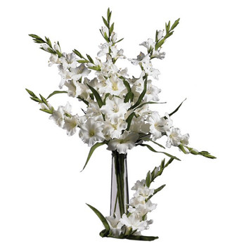 "36"" Gladiola Silk Flower Stem - White, Set of 12"