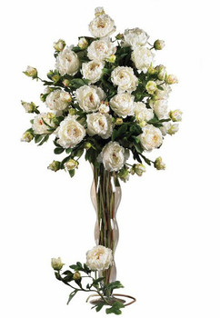 "38.5"" Peony with Leaves Silk Flower Stem - White, Set of 12"
