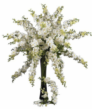 "38.5"" Delphinium Silk Flower Stem - White, Set of 12"