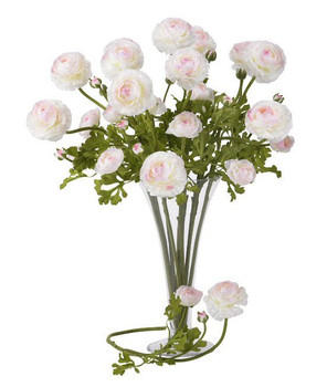 "23"" Ranunculus Silk Flower Stem - White Pink, Set of 12"