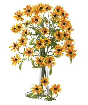 "28.5"" Cosmo Silk Flower Stem - Yellow, Set of 12"