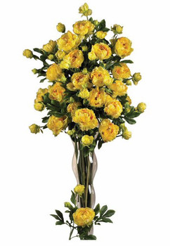"38.5"" Peony with Leaves Silk Flower Stem - Yellow, Set of 12"
