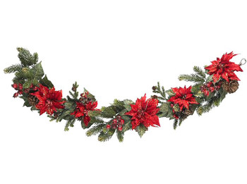 "60"" Poinsettia and Berry Garland"