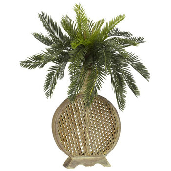 Cycas with Decorative Vase Silk Plant